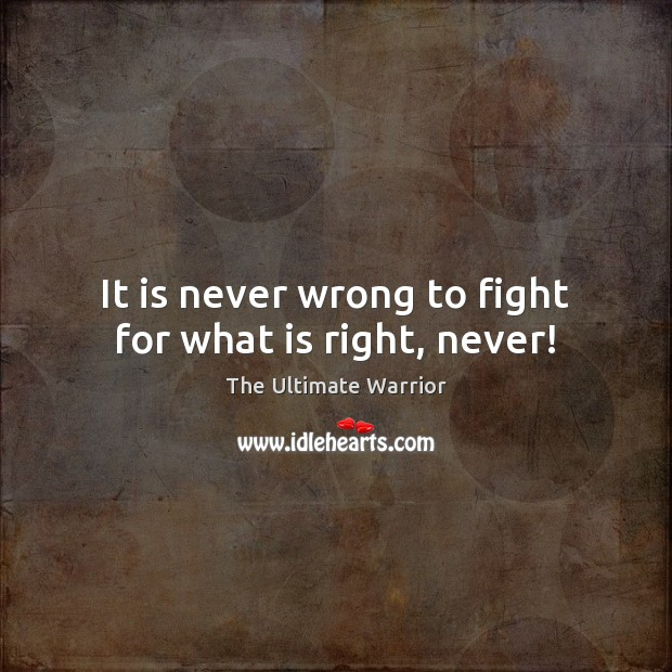 It is never wrong to fight for what is right, never! Image