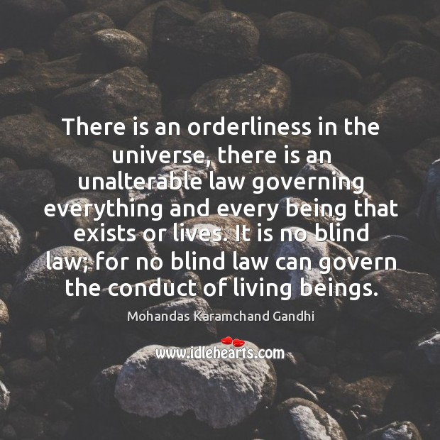 It is no blind law; for no blind law can govern the conduct of living beings. Mohandas Karamchand Gandhi Picture Quote