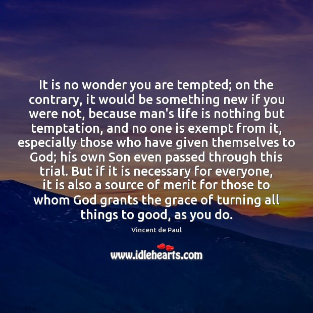 It is no wonder you are tempted; on the contrary, it would Vincent de Paul Picture Quote