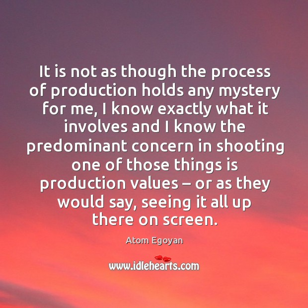 It is not as though the process of production holds any mystery for me, I know exactly Image