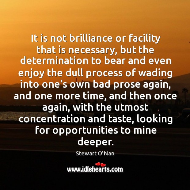 It is not brilliance or facility that is necessary, but the determination Image