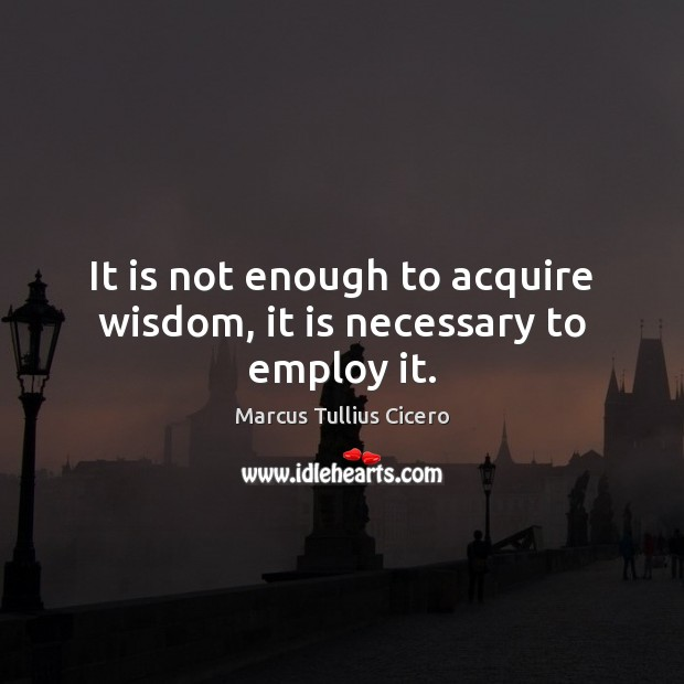 Image, It is not enough to acquire wisdom, it is necessary to employ it.