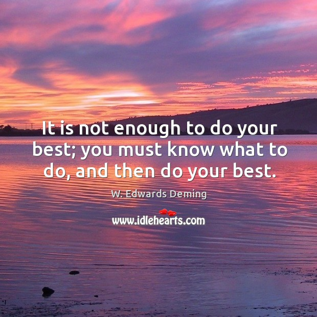 Image, It is not enough to do your best; you must know what to do, and then do your best.