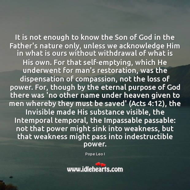 Image, It is not enough to know the Son of God in the