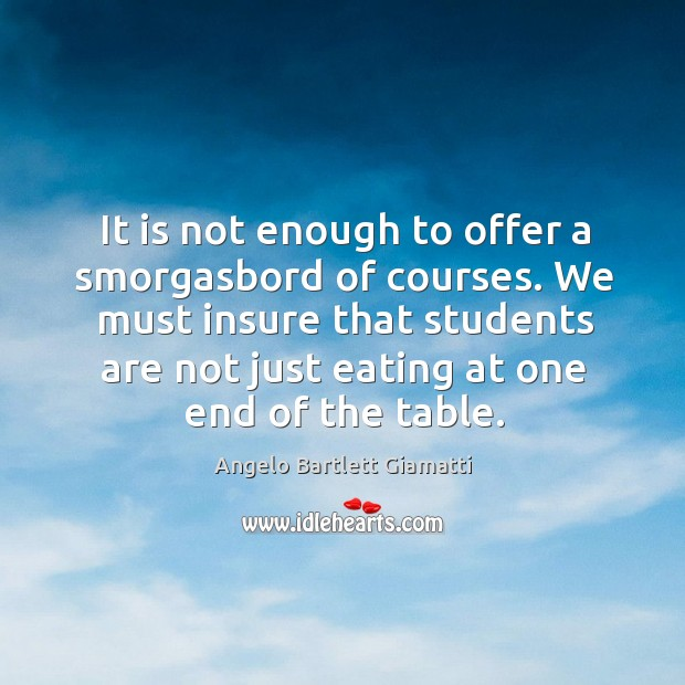 Image, It is not enough to offer a smorgasbord of courses. We must insure that students are not just eating at one end of the table.