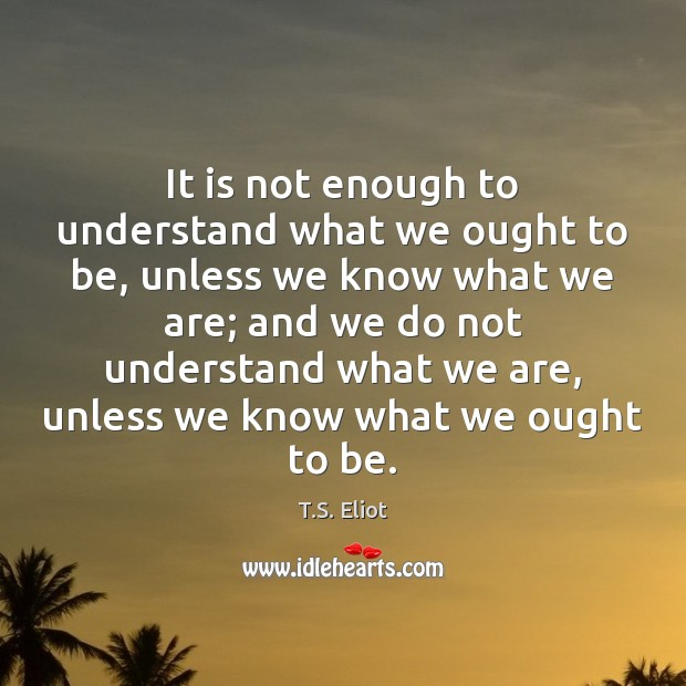 Image, It is not enough to understand what we ought to be, unless