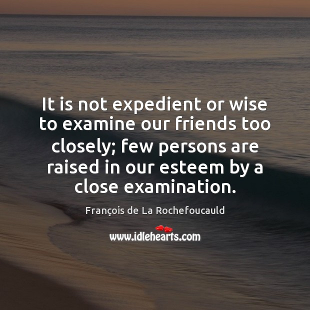 Image, It is not expedient or wise to examine our friends too closely;