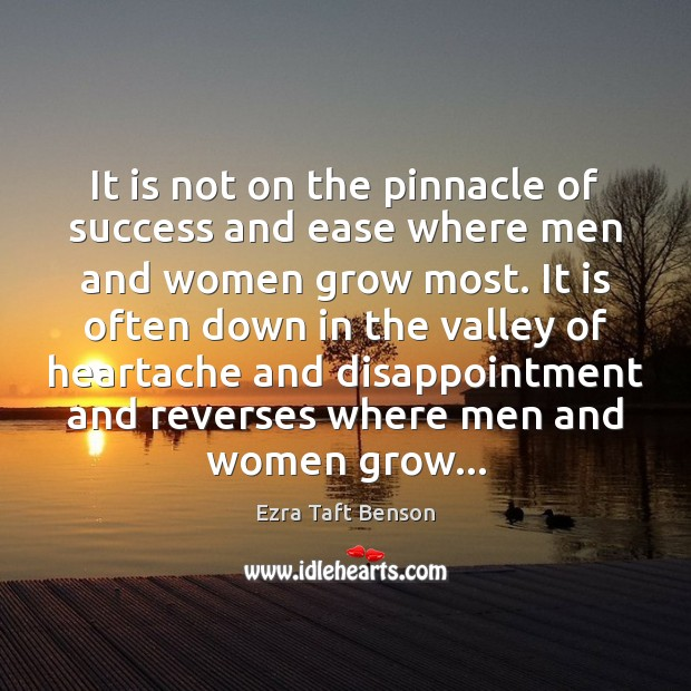 Image, It is not on the pinnacle of success and ease where men