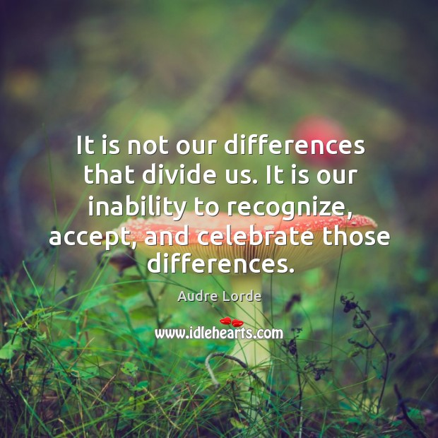 It is not our differences that divide us. It is our inability to recognize, accept, and celebrate those differences. Audre Lorde Picture Quote