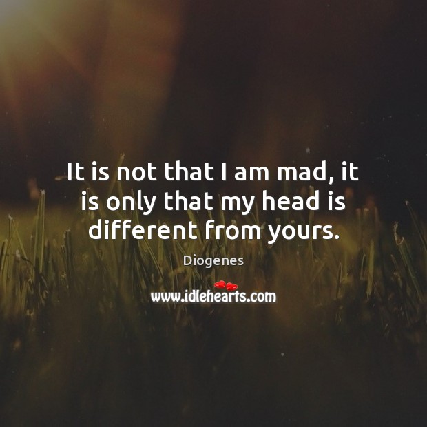 Image, It is not that I am mad, it is only that my head is different from yours.