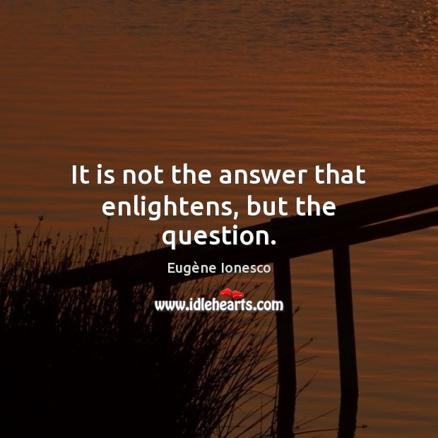 Image, It is not the answer that enlightens, but the question.