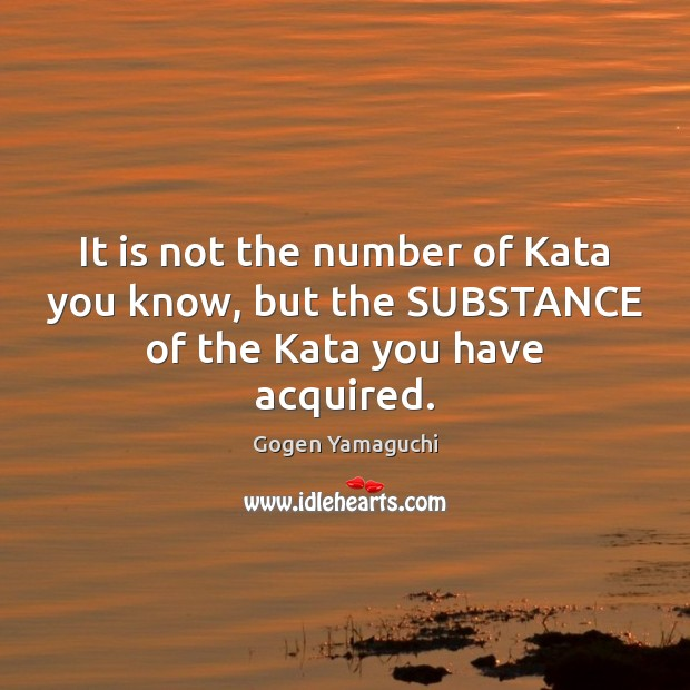Image, It is not the number of Kata you know, but the SUBSTANCE of the Kata you have acquired.
