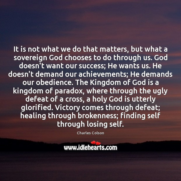 It is not what we do that matters, but what a sovereign Image