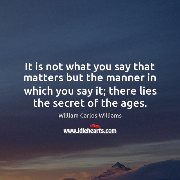 It is not what you say that matters but the manner in William Carlos Williams Picture Quote