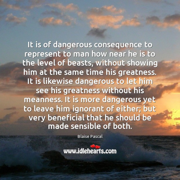It is of dangerous consequence to represent to man how near he Image