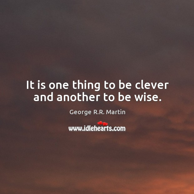 It is one thing to be clever and another to be wise. Image