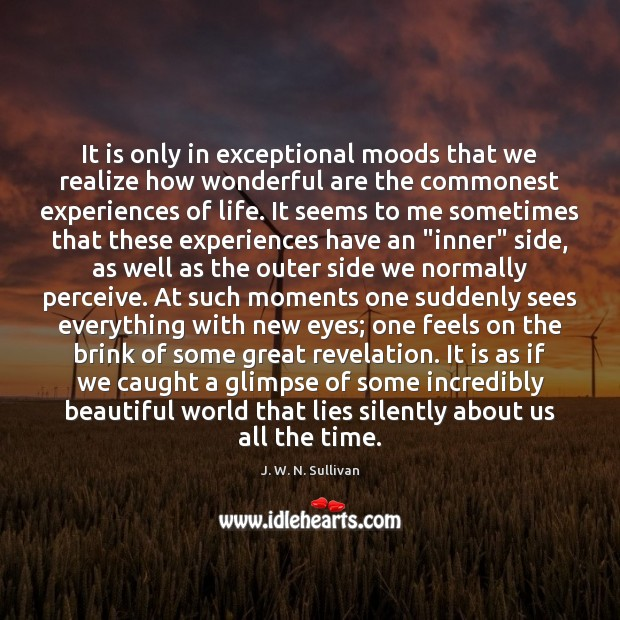 It is only in exceptional moods that we realize how wonderful are Image