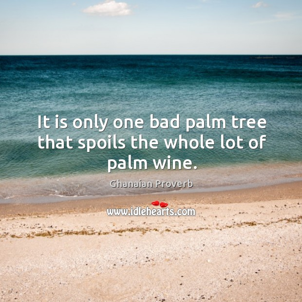 It is only one bad palm tree that spoils the whole lot of palm wine. Ghanaian Proverbs Image