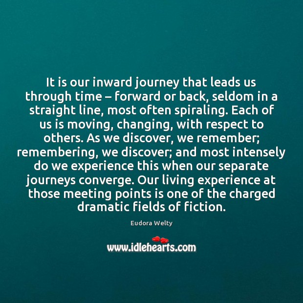 It is our inward journey that leads us through time – forward or Eudora Welty Picture Quote