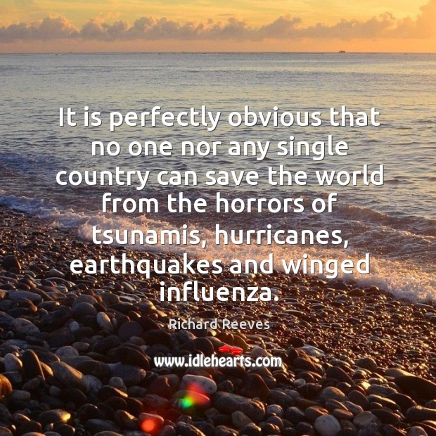 It is perfectly obvious that no one nor any single country can save the world from the horrors of tsunamis Image
