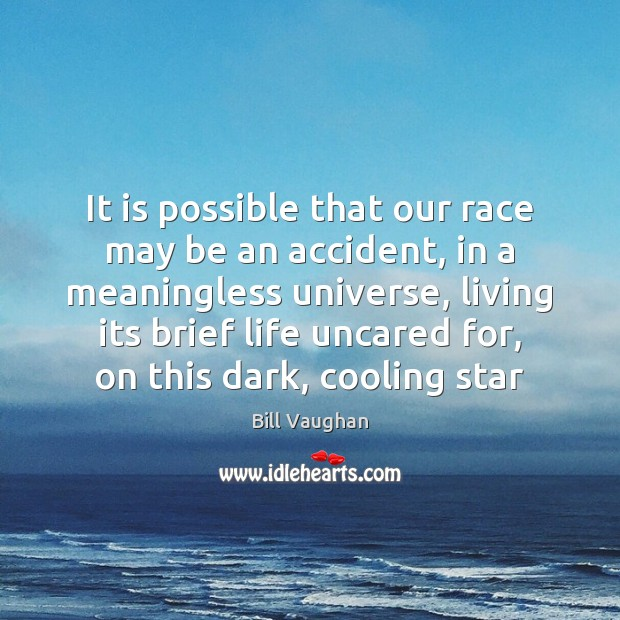 It is possible that our race may be an accident, in a Bill Vaughan Picture Quote