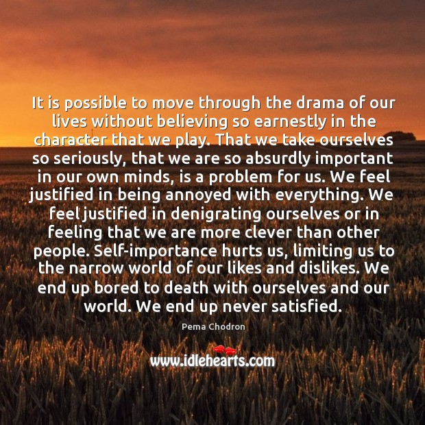 Image, It is possible to move through the drama of our lives without