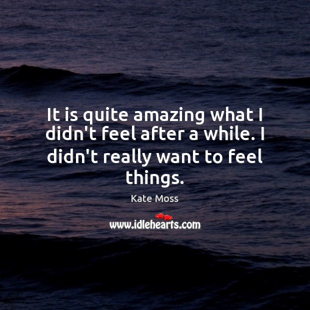 It is quite amazing what I didn't feel after a while. I didn't really want to feel things. Kate Moss Picture Quote