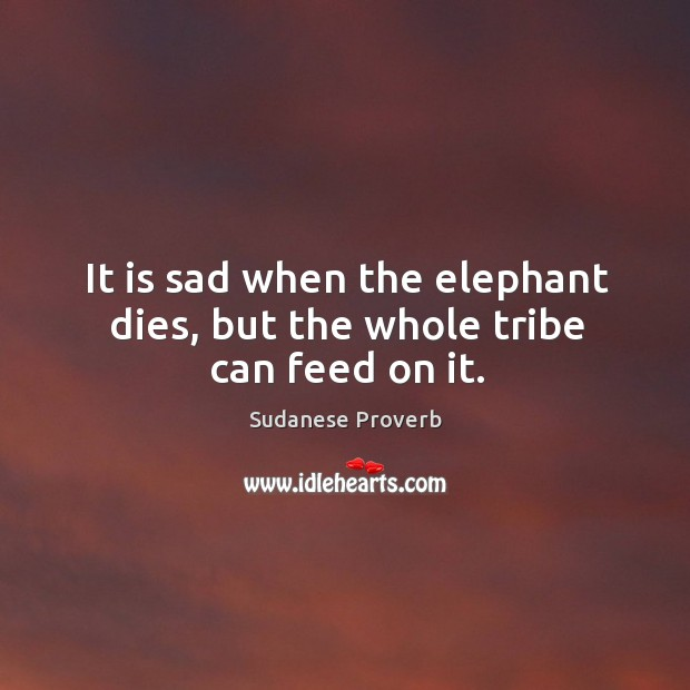 It is sad when the elephant dies, but the whole tribe can feed on it. Sudanese Proverbs Image