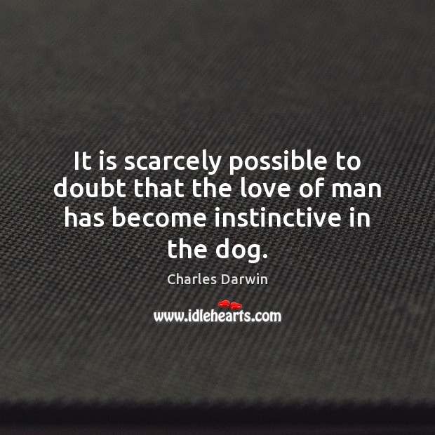Image, It is scarcely possible to doubt that the love of man has become instinctive in the dog.