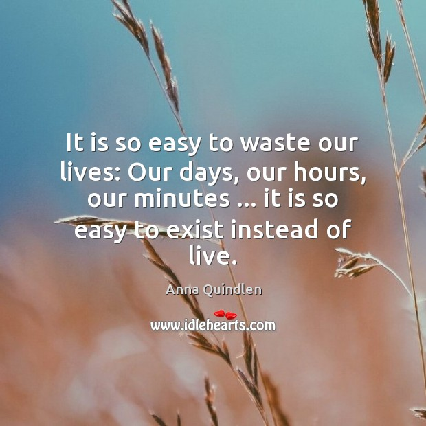 Image, It is so easy to waste our lives: Our days, our hours,