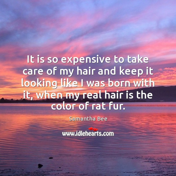 It is so expensive to take care of my hair and keep Samantha Bee Picture Quote