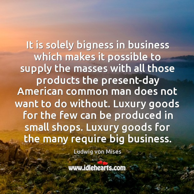 Image, It is solely bigness in business which makes it possible to supply