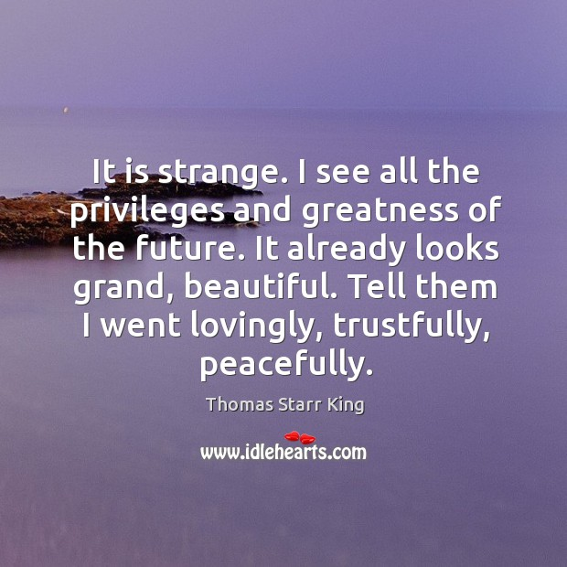 It is strange. I see all the privileges and greatness of the future. Image