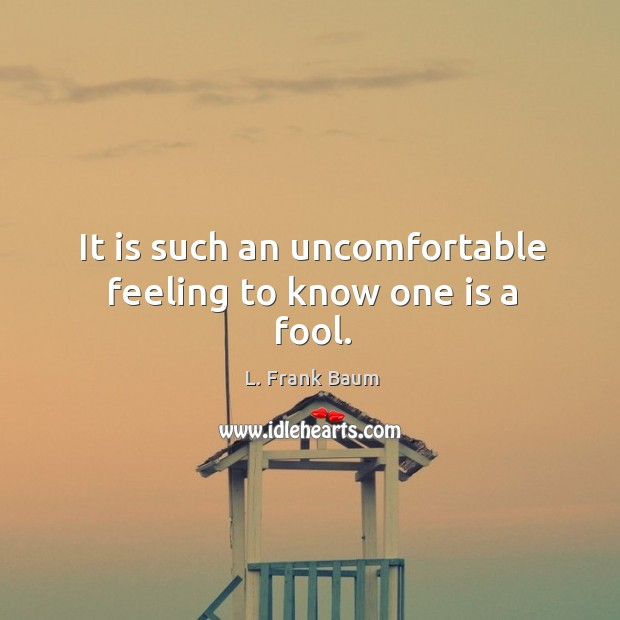 Image, It is such an uncomfortable feeling to know one is a fool.