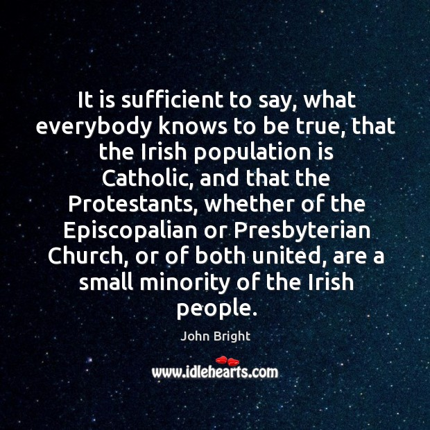 It is sufficient to say, what everybody knows to be true, that the irish population is catholic Image