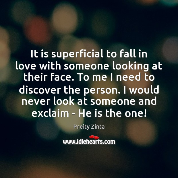 It is superficial to fall in love with someone looking at their Image