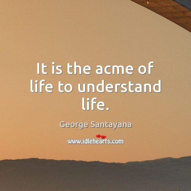 Image, It is the acme of life to understand life.