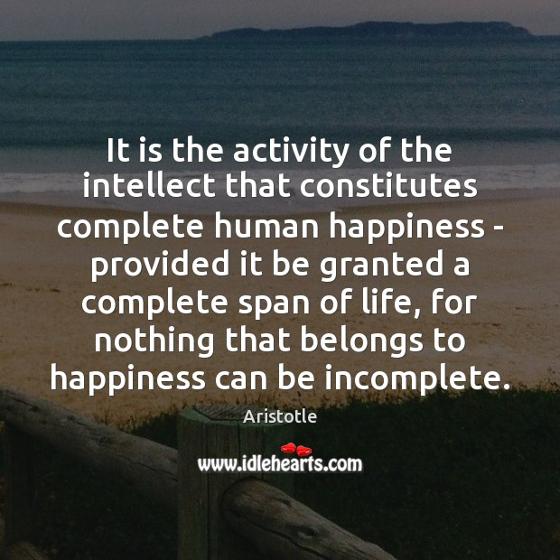 Image, It is the activity of the intellect that constitutes complete human happiness