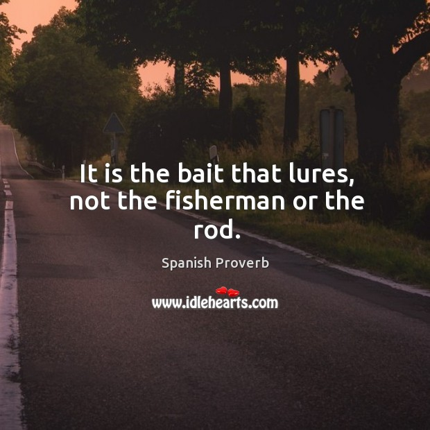 Image, It is the bait that lures, not the fisherman or the rod.