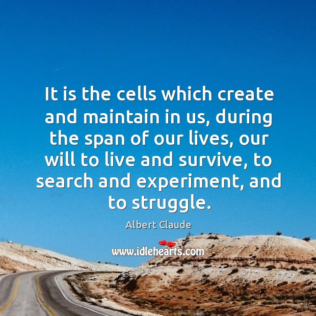 It is the cells which create and maintain in us, during the span of our lives Image