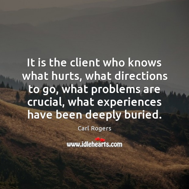Carl Rogers Picture Quote image saying: It is the client who knows what hurts, what directions to go,