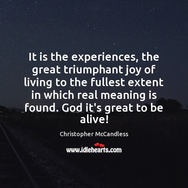 Image, It is the experiences, the great triumphant joy of living to the