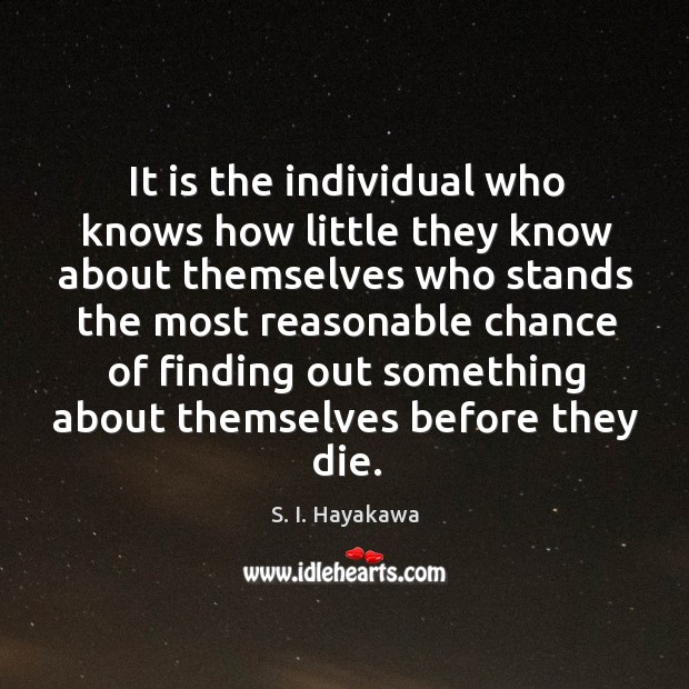 It is the individual who knows how little they know about themselves Image