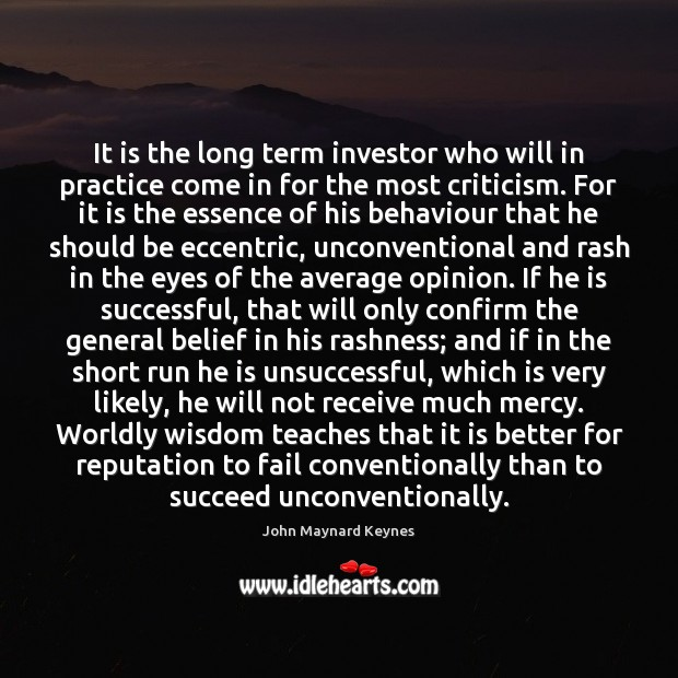 It is the long term investor who will in practice come in Image