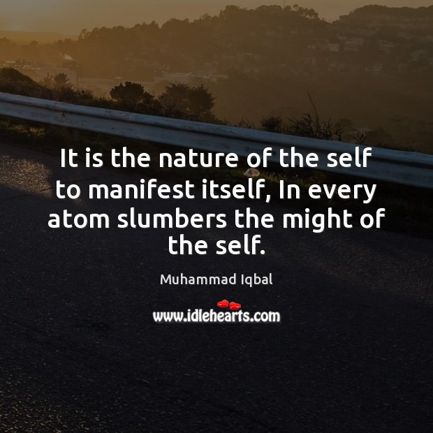 It is the nature of the self to manifest itself, In every Image