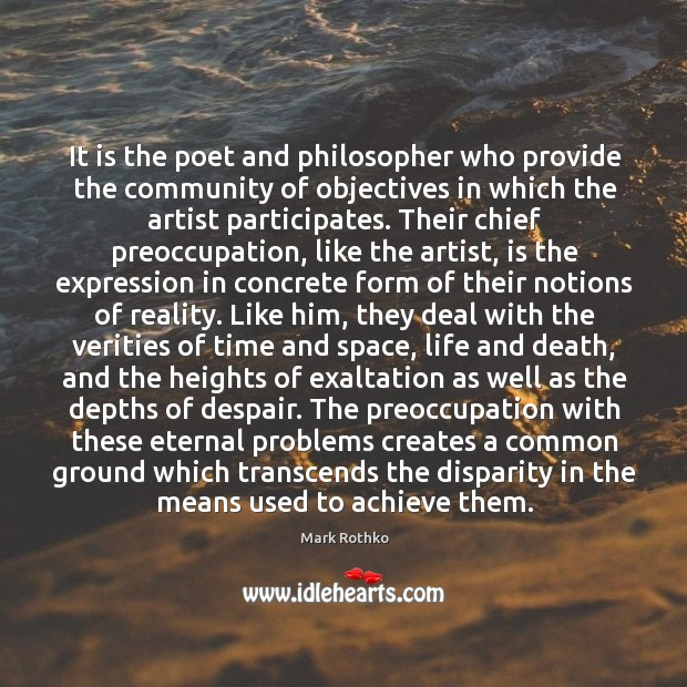 Image, It is the poet and philosopher who provide the community of objectives