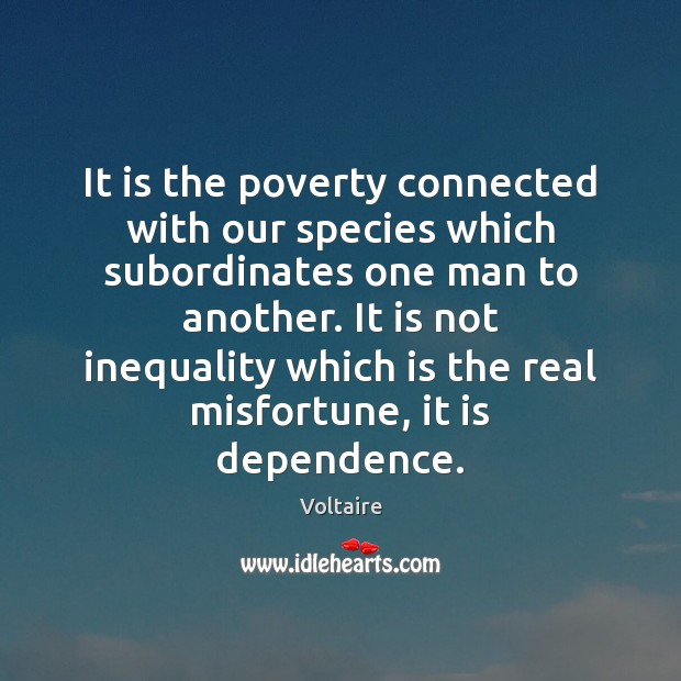 Image, It is the poverty connected with our species which subordinates one man