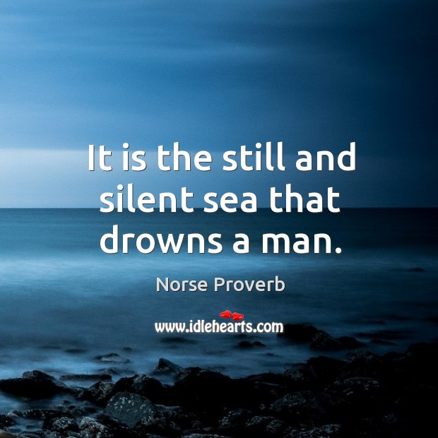 It is the still and silent sea that drowns a man. Norse Proverbs Image