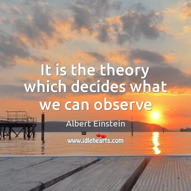 Image, It is the theory which decides what we can observe