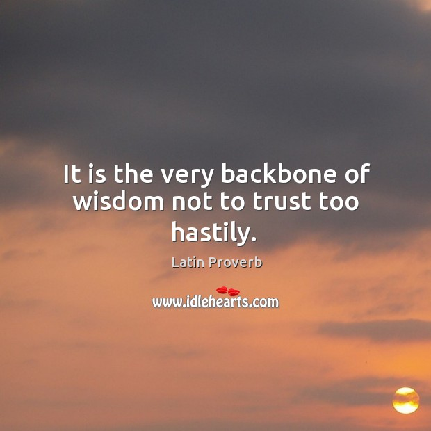 Image, It is the very backbone of wisdom not to trust too hastily.